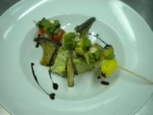 Seeteufel am Spieß auf Kartoffel-Petersilienpüree und Kräuterseitlinge - Rezept
