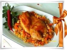 Hähnchen auf Gemüsebett - Rezept