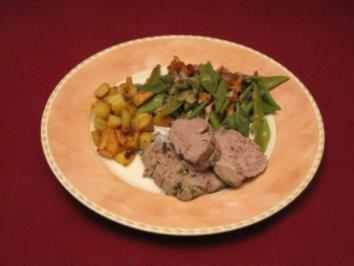 Kalbsfilet auf Bohnen-Pfifferling-Gemüse - Rezept