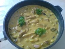 Schweinslendchen in Aubergine-Zucchini-Curry - Rezept