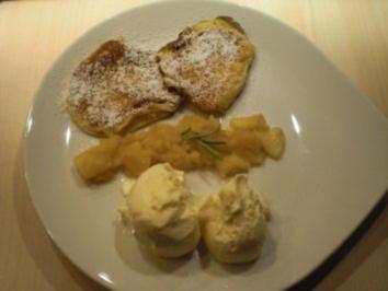 Rosmarin-Pancake mit Calvados-Kompott und Rosmarin-Joghurt-Eis - Rezept