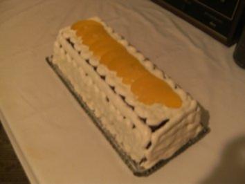 TORTE - Pfirsich-Biskuit-Kasten-Torte - Rezept