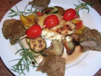 Lammlachse im Kräuterbrotmantel, Rotwein-Rosmarin Jus, mediterranes Gemüse+Kartoffelgratin - Rezept