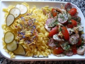 Cremige Salami - Pilzpfanne an italienischer Pasta - Rezept