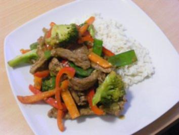 Rindfleisch mit Orange und Gemüse - Rezept