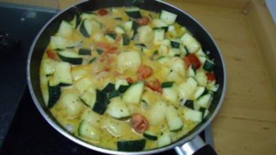 Zucchini-Tomaten- Miniknödelpfanne - Rezept