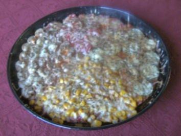 Bunte Hackfleischpizza - Rezept