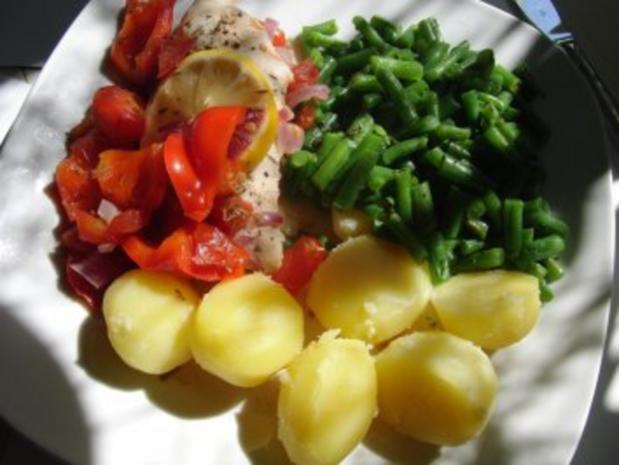 Huhn : Saftige Hähnchenbrust im Bratschlauch, mit Paprika, Tomate und grünen Bohnen - Rezept - Bild Nr. 5