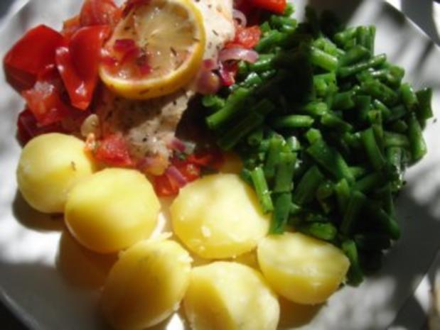 Huhn : Saftige Hähnchenbrust im Bratschlauch, mit Paprika, Tomate und grünen Bohnen - Rezept - Bild Nr. 6