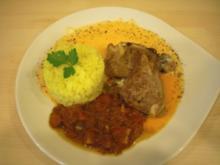 Lammkoteletts mit zweierlei Saucen von Paprika und Safran-Basmatireis - Rezept