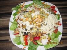 Gemischter Salat mit  Curry-Hähnchen Filet und gebratenen Pilzen - Rezept
