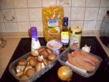 Bandnudeln mit Hähnchenfilet in einer Champignon-Sahne-Soße - Rezept