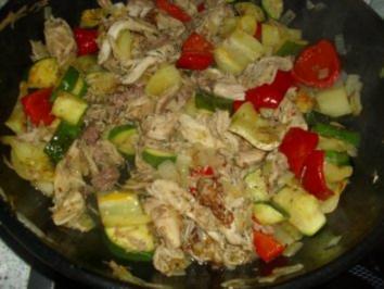 Paprika-Zucchini-Hähnchenfleischpfanne - Rezept