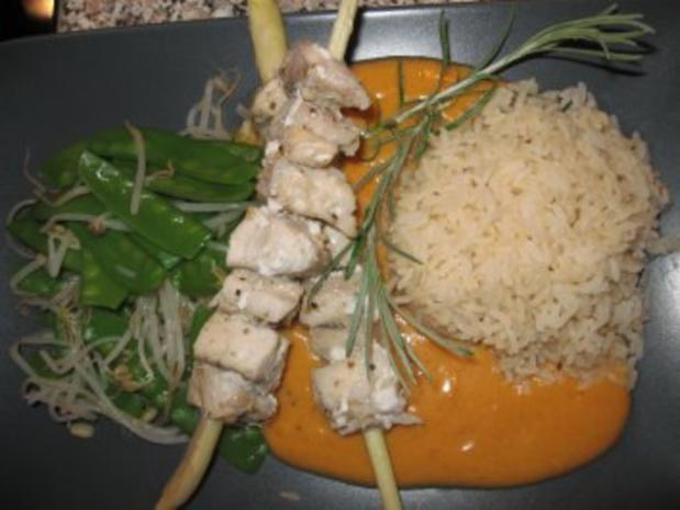 Rotes Thai-Curry mit Zitronengras-Seelachsfilet-Spieße - Rezept - Bild Nr. 2