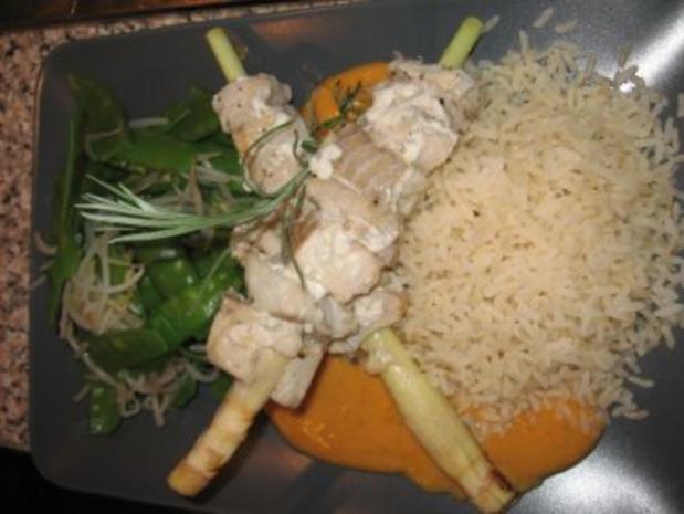 Rotes Thai-Curry mit Zitronengras-Seelachsfilet-Spieße - Rezept - Bild Nr. 3