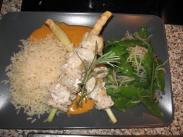 Rotes Thai-Curry mit Zitronengras-Seelachsfilet-Spieße - Rezept - Bild Nr. 4