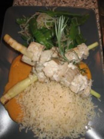 Rotes Thai-Curry mit Zitronengras-Seelachsfilet-Spieße - Rezept - Bild Nr. 5