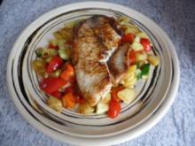 Resteverwertung : Gemüsebratkartoffeln, dazu Tilapia - Rezept