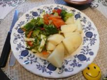 Fleischlose Küche : Gedünstetes Gemüse an Salzkartoffeln mit Bechamelsoße - Rezept