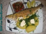 Fischgerichte: Gebratener Wolfsbarsch mit Gemüsekartoffeln - Rezept