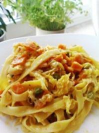 Pasta mit Kürbis und Sauerkraut - Rezept