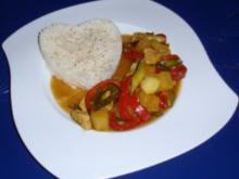 Schweinefleisch süß/scharf mit einem Himalaya Basmatireis - Rezept