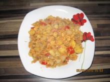 Bratkartoffeln mit Paprika und Schinkenwürfeln - Rezept