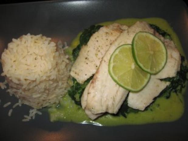 Kokos-Curry-Spinat mit Tilapia - Rezept