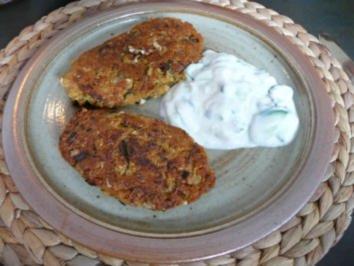 Rezept: Fleischlose Küche : Bratlinge mit Gurkenquark