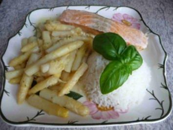Fisch : Spargelspitzen mit Seelachs an Reis - Rezept