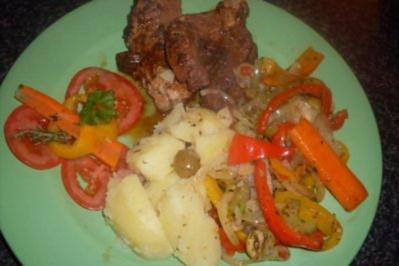 Spanferkelbraten mit Spanischem Wok-Gemüse... - Rezept