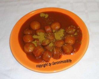 Rezept: Currywurst in scharfer exotischer Sauce