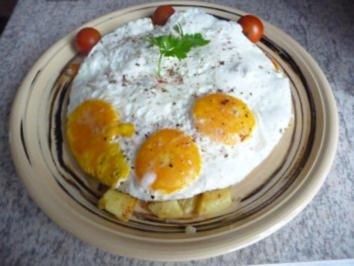 Eiergerichte : Bratkartoffeln mit Spiegelei - Rezept