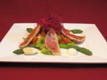 Salat vom grünen Spargel mit Trüffelvinaigrette und gebratenem Rotbarbenfilet - Rezept