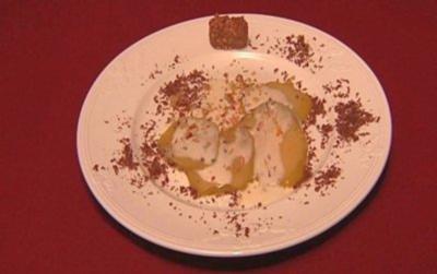Birnen-Carpaccio mit Joghurt-Minze-Creme - Rezept