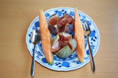 Vorspeise: Feigen mit Schinken und Melone - Rezept