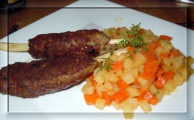 Zitronengras-Hackspieße mit Kartoffel-Karotten-Fenchel-Gemüse - Rezept