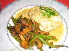 Schmetterlingssteak gefüllt mit Pfifferlingen an Bohnen-Pfifferling-Gemüse - Rezept