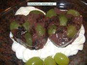 Dessert:  SCHOKOPUDDING an Weintrauben - Rezept