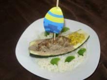 Zucchini - Hack - Schiffchen im Reis - Meer - Rezept