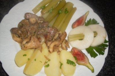 Leber-Pilz-Pfanne mit Staudensellerie..... - Rezept