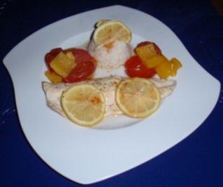 Saibling auf Gemüse in der Folie gegart mit Basmatireis - Rezept