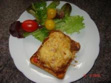 Snack : Hackfleisch und Käse auf Toastbrot - Rezept