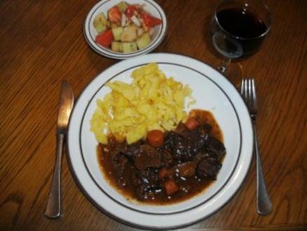 Fleisch: Rinderherz-Ragout mit Steinpilzen und Preiselbeeren - Rezept