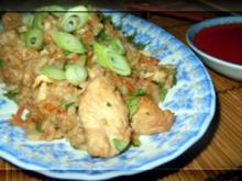 Shrimps und Hähnchen mit Bratreis - Rezept