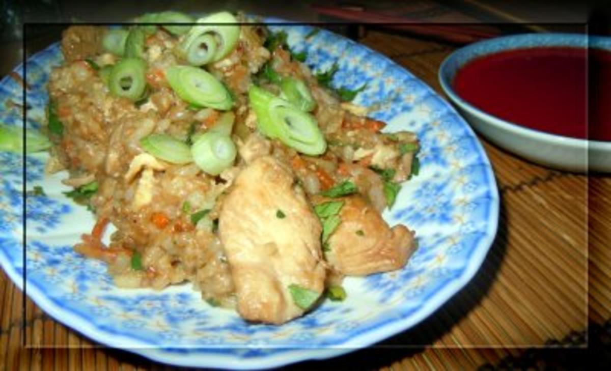 Bilder für Shrimps und Hähnchen mit Bratreis - Rezept