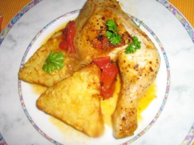Chili-Hähnchenschenkel an Röstitalern - Rezept