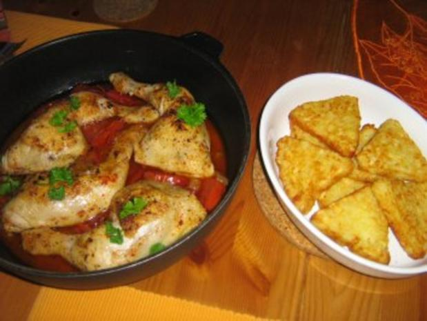 Chili-Hähnchenschenkel an Röstitalern - Rezept - Bild Nr. 6