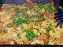 Papardelle in tomatisiertem Pilz-Safranrahm und Rinderstreifen - Rezept