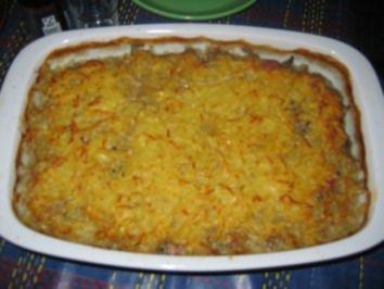 Gemüse-Kasseler-Auflauf mit Käse-Kartoffelkruste - Rezept